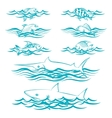 Hand drawn fish in the waves vector image