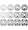 Home icon set in different shape isolated on white vector image