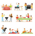 people on bbq picnic outdoors eating and cooking vector image