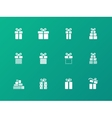 Present icons on green background vector image