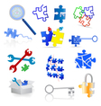 Puzzle icons and elements vector image