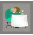 flat shading style icon man sleeping at desk vector image