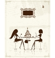 Fashion girls in cafe for your design vector image vector image