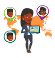 woman holding tablet with social network vector image