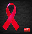 realistic red ribbon on black vector image