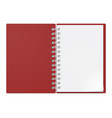 realistic notebook on white background design vector image vector image