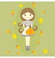 Autumn Girl Holding Pumpkin Fall Symbols Leaves vector image