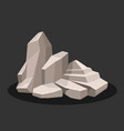 gray rock stone on a black background vector image