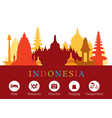 Indonesia landmarks skyline with accomodation vector image