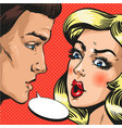 pop art of couple talking to vector image