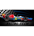 Racing team open wheel race car under a spotlight vector image