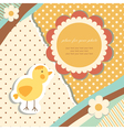 Vintage baby chicken vector image