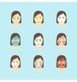 Cartoon Face Mask Skincare Set vector image