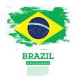 brazil flag with brush strokes vector image