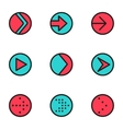 flat color line arrow circle icons set vector image