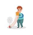 man smoking giant cigarette harmful habit and vector image