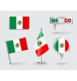 Set of Mexican pin icon and map pointer flags vector image
