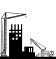 Construction of buildings wich crane vector