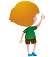 back of little boy in green shirt vector image