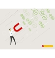 Businessman magnet attracts money vector image