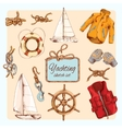 Yachting sketch set vector image