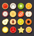fruit icon set vector image vector image