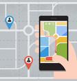 smart phones with gps navigation vector image