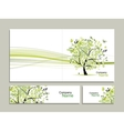 Business card collection abstract floral tree vector image
