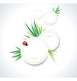 Clean summer stickers with grass vector image