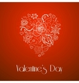 Happy Valentines Day floral doodle heart vector image
