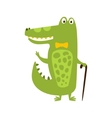 Crocodile With Bow Tie And Cane Flat Cartoon Green vector image