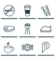 set of 9 meal icons includes chicken fry stop vector image