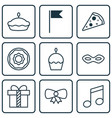 set of 9 holiday icons includes flan sliced vector image