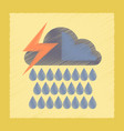 flat shading style icon thunderstorm rain cloud vector image