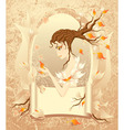 Autumn girl with a scroll on grunge background vector image