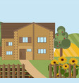 wood house or farm sunflowers landscape vector image
