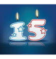Birthday candle number 15 vector image
