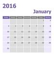 Calendar January 2016 week starts from Sunday vector image