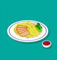 dry egg noodle soup with roast pork in 3d style vector image