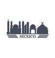 mexico travel landmarks silhouette vector image