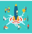 Modern startup concept with people and rocket vector image