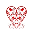 Red Heart With Flower Curl Over White vector image