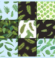 seamless pattern with banana leaves vector image