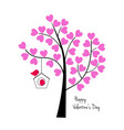 valentines day birds with tree and birdhouse vector image