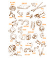 sketch icons set of italian pasta variety vector image