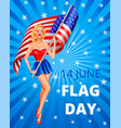 flag day and woman vector image