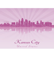 Kansas City skyline in purple radiant orchid vector image