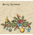 Merry Christmas hand drawn invitation card vector image vector image