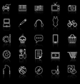 Hobby line icons with reflect on black vector image vector image