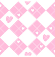 Diamond Chessboard Pink Heart Valentine vector image